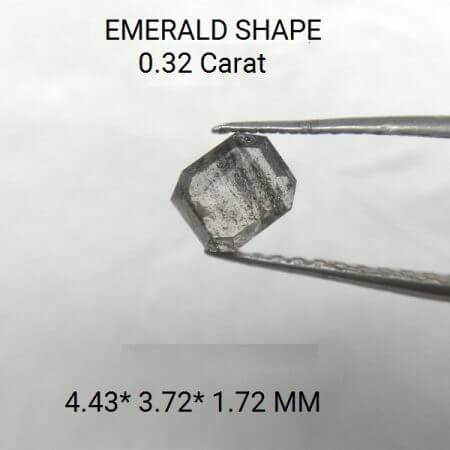 White Color Emerald 0.32 Carat 4.43* 3.72* 1.72 MM Rustic Diamond