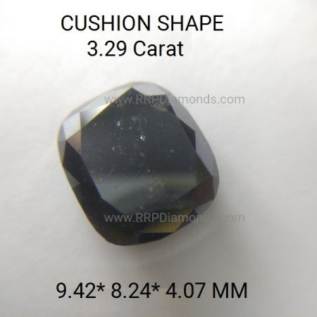 3.29 Carat 9.4*8.2*4 MM Cushion Shape AA Rose Cut Black Diamond