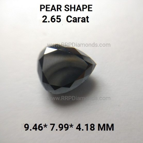 2.65 Carat Loose Pear Shape Black Diamond