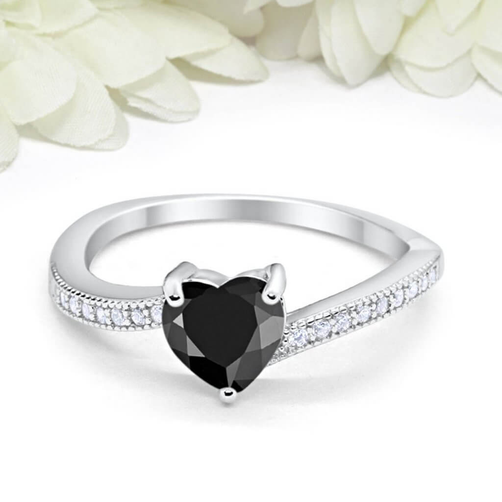 Black cz engagement rings
