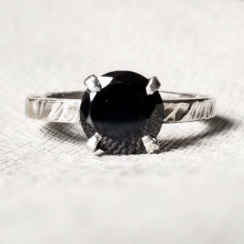 Black moissanite ring