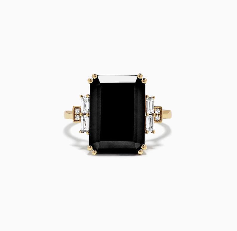 Black Onyx engagement ring