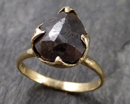 Carbonado diamond ring